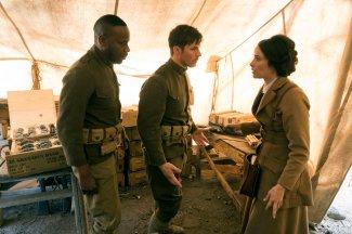 "TIMELESS -- ""The War to End All Wars"" Episode 201 -- Pictured: (l-r) Malcolm Barrett as Rufus Carlin, Matt Lanter as Wyatt Logan, Abigail Spencer as Lucy Preston -- (Photo by: Justin Lubin/NBC)"