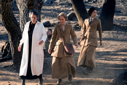 "TIMELESS -- ""The War to End All Wars"" Episode 201 -- Pictured: (l-r) Kim Bubbs as Marie Curie, Susanna Thompson as Carol, Abigail Spencer as Lucy Preston -- (Photo by: Justin Lubin/NBC)"
