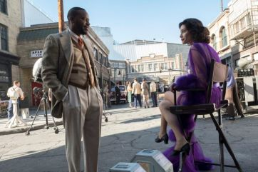 "TIMELESS -- ""Hollywoodland"" Episode 203 -- Pictured: (l-r) Malcolm Barrett as Rufus Carlin, Alyssa Sutherland as Hedy Lamar -- (Photo by: Justin Lubin/NBC)"