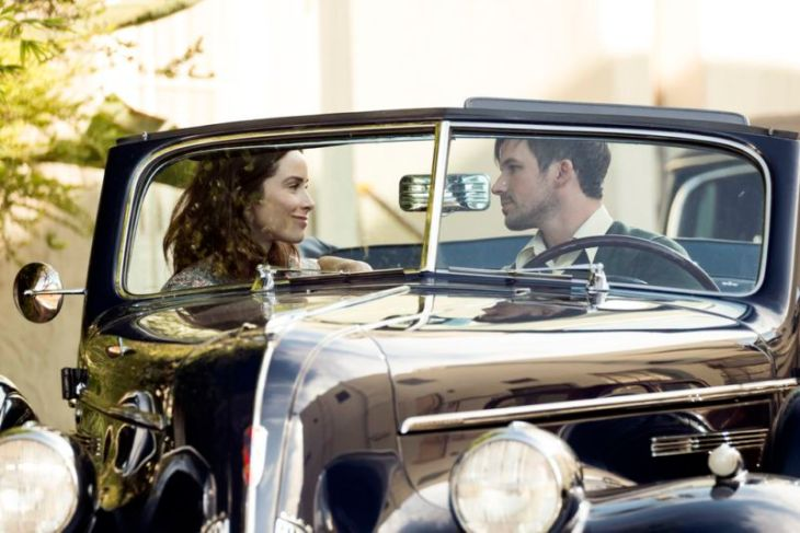 "TIMELESS -- ""Hollywoodland"" Episode 203 -- Pictured: (l-r) Abigail Spencer as Lucy Preston, Matt Lanter as Wyatt Logan -- (Photo by: Justin Lubin/NBC)"