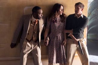 "TIMELESS -- ""Hollywoodland"" Episode 203 -- Pictured: (l-r) Malcolm Barrett as Rufus Carlin, Abigail Spencer as Lucy Preston, Matt Lanter as Wyatt Logan -- (Photo by: Justin Lubin/NBC)"