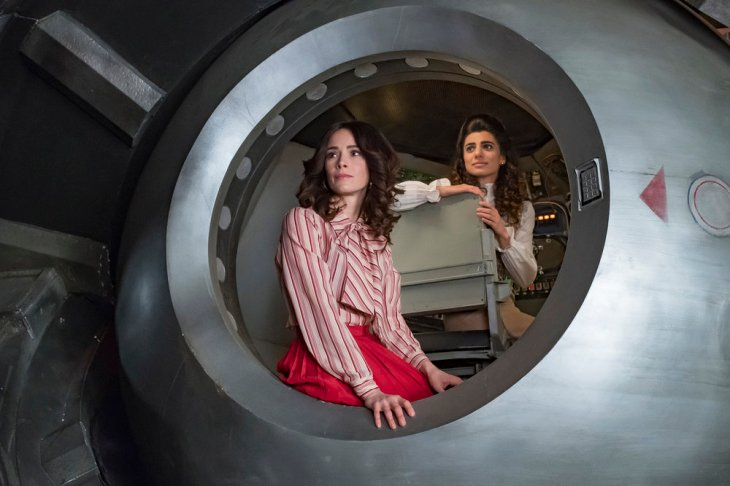 "TIMELESS -- ""The Day Reagan Was Shot"" Episode 208 -- Pictured: (l-r) Abigail Spencer as Lucy Preston, Claudia Doumit as Jiya -- (Photo by: Ron Batzdorff/NBC)"