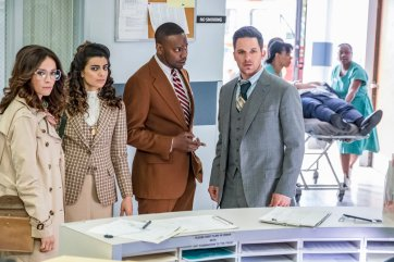 "TIMELESS -- ""The Day Reagan Was Shot"" Episode 208 -- Pictured: (l-r) Abigail Spencer as Lucy Preston, Claudia Doumit as Jiya, Malcolm Barrett as Rufus Carlin, Matt Lanter as Wyatt Logan -- (Photo by: Ron Batzdorff/NBC)"