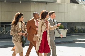 "TIMELESS -- ""The Day Reagan Was Shot"" Episode 208 -- Pictured: (l-r) Claudia Doumit as Jiya, Malcolm Barrett as Rufus Carlin, Abigail Spencer as Lucy Preston, Matt Lanter as Wyatt Logan -- (Photo by: Colleen Hayes/NBC)"