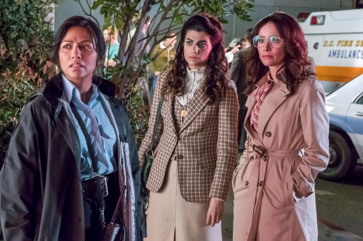 "TIMELESS -- ""The Day Reagan Was Shot"" Episode 208 -- Pictured: (l-r) Karen David as Young Denise Christopher, Claudia Doumit as Jiya, Abigail Spencer as Lucy Preston -- (Photo by: Ron Batzdorff/NBC)"